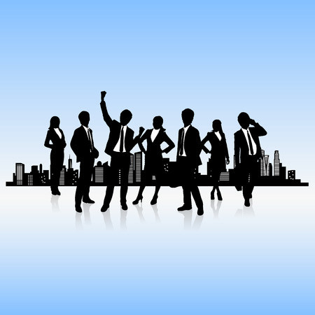 city background: human resources concept - business people work team with city background