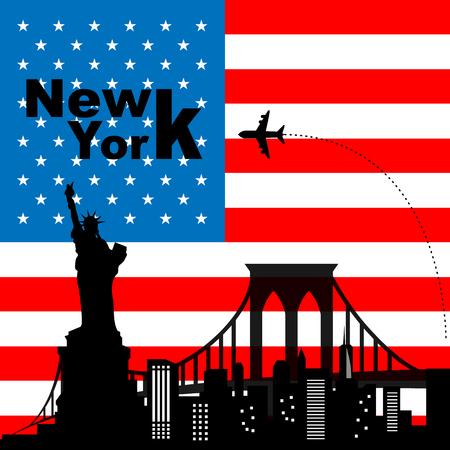 brooklyn bridge: New york skyline with airplane Illustration