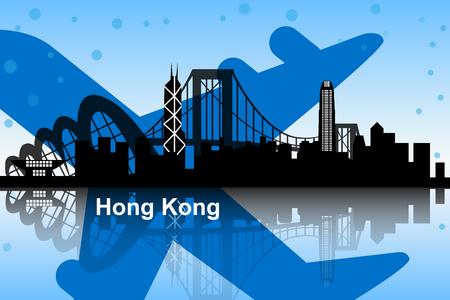hong kong skyline: Hong Kong skyline with airplane