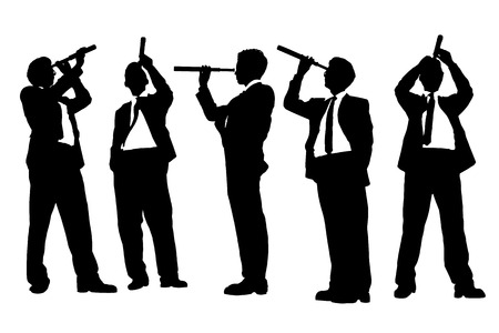 fernrohr: Silhouetten von erfolgreicher Geschäftsmann mit Fernrohr (Fernrohr) freut sich Perspektiven für zukünftige in voller Länge auf weißen Hintergrund isoliert