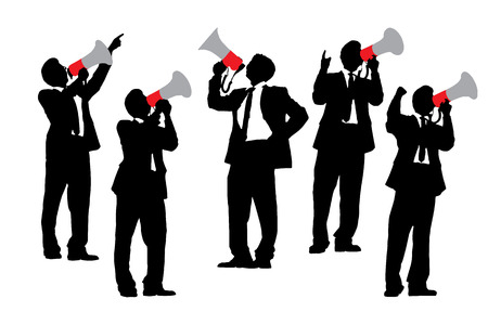 man full body: Silhouettes of Business men shouting by megaphone isolated on white background Illustration