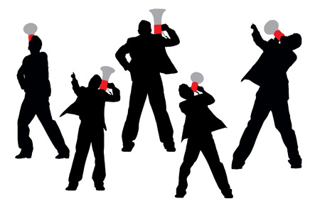 man rear view: Silhouettes of Business men shouting by megaphone isolated on white background Illustration