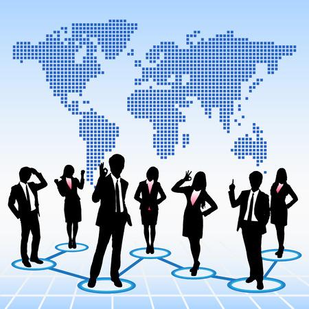 obreros trabajando: Personas Concepto global de los recursos humanos de negocios trabajan en equipo con el mapa del mundo de fondo