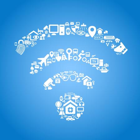 wifi internet: Internet de las cosas y el concepto de cloud computing Vectores