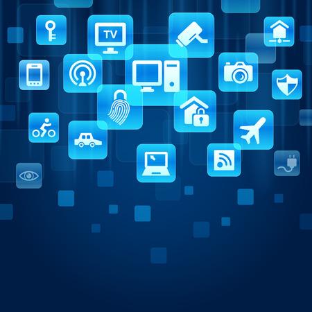 wifi internet: Internet de las cosas concepto - botones azules con IOT y el icono de Internet Vectores