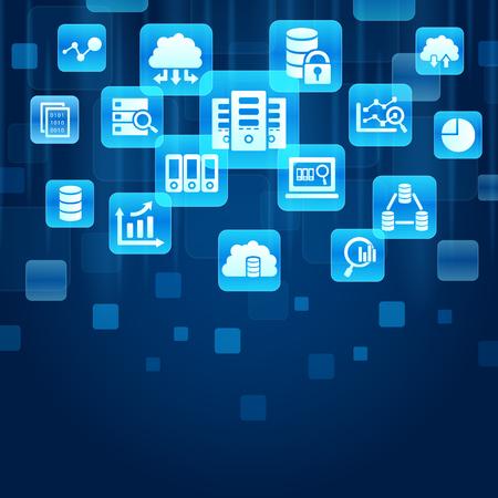 bid: Concepto de datos de la subasta - botones de color azul con el icono del Big Data Ciencia Vectores