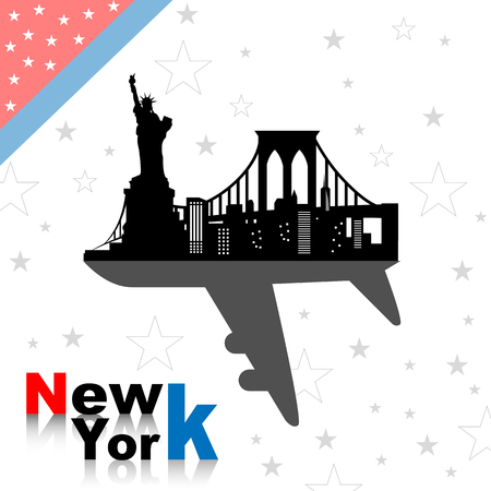 New york skyline with airplane Vector