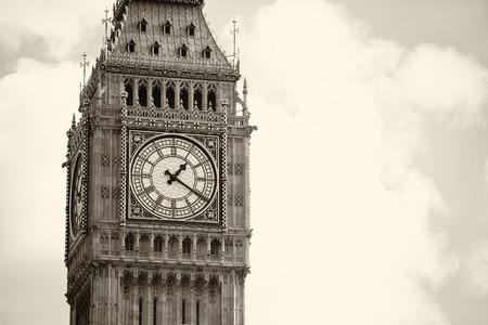 london big ben: Monochrome Big Ben and London with overcast sky, United Kingdom,uk Stock Photo