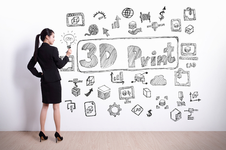 printer drawing: Back view of business woman look hand drawing 3D printer white wall background, asian