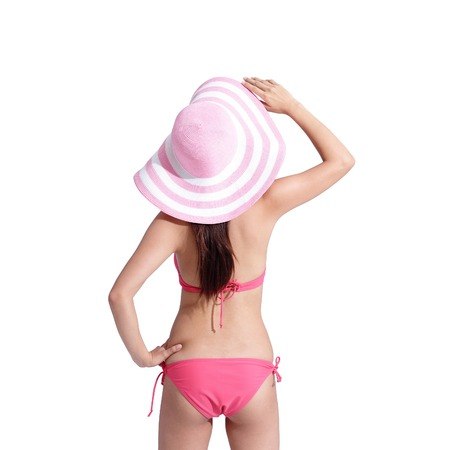 dream body: Back view of happy girl wear bikini isolated on white background, asian beauty