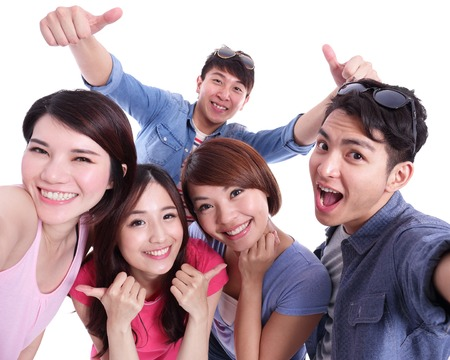 asian men: Selfie - Happy teenagers taking pictures by themselves isolated on white background, asian