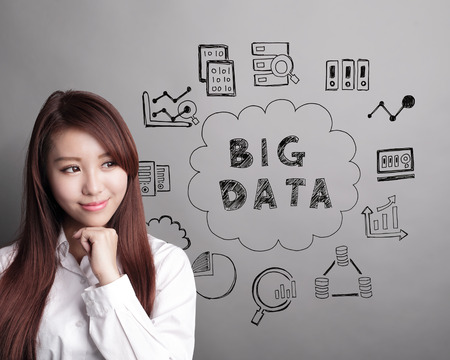 think: Big Data concept - business woman look Big Data text and icon on grey background, asian