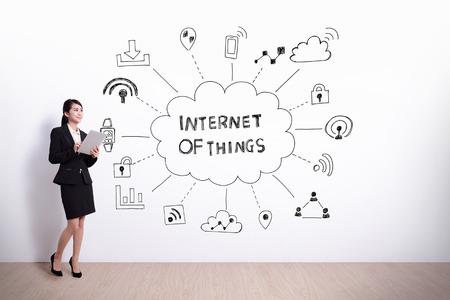 흰 벽 배경에 가지 아이콘과 텍스트의 인터넷 그리기 사업 여자 보류 컴퓨터, 아시아