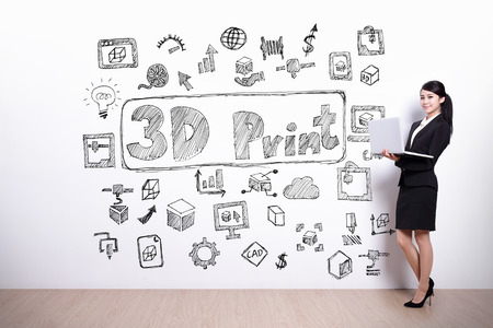 printer drawing: business woman hold computer with hand drawing 3D printer text and icon on white wall background, asian Stock Photo