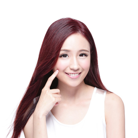 charming woman: Beauty woman with charming smile to you with health skin, teeth and hair isolated on white background, asian beauty