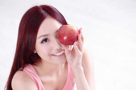 beauty and health: Health girl show Apple with smile face, health food concept, asian woman beauty