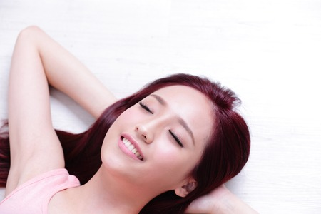 young asian: portrait of a Happy young beautiful woman relax lying and smile to you, asian beauty Stock Photo