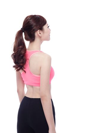 white back: Back view of Sport Woman with health figure isolated on white background, asian beauty Stock Photo