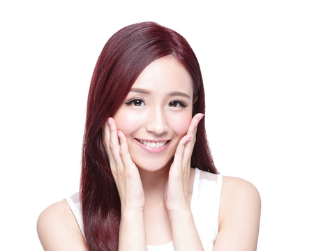 girl care: Beauty woman with charming smile to you with health skin, teeth and hair isolated on white background, asian beauty