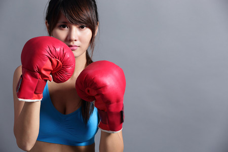 female boxing: Woman with boxing gloves, asian beauty
