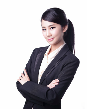 expert: business woman isolated on white background, asian beauty Stock Photo