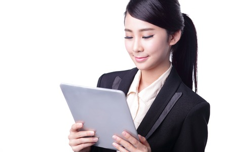 digital tablet: business woman using digital tablet pc isolated on white background, asian beauty Stock Photo
