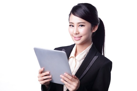 phone isolated: business woman using digital tablet pc isolated on white background, asian beauty Stock Photo