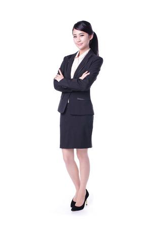 사업 여자 흰색 배경에 고립, 아시아 아름다움
