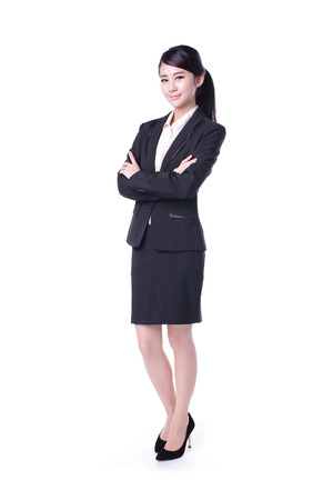 contadores: mujer de negocios aislados en fondo blanco, belleza asiática