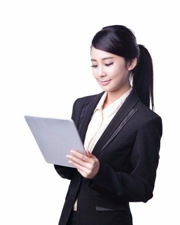 isolated woman: business woman using digital tablet pc isolated on white background, asian beauty Stock Photo