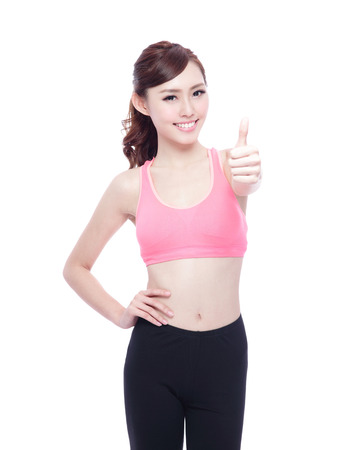 sport woman: Sport girl show thumb up isolated on white background. Running fitness sport woman jogging smiling happy. asian beauty