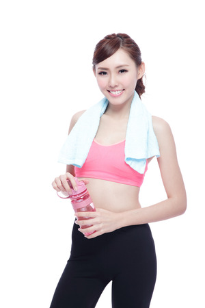 asia women: Sport girl with water isolated on white background. Running fitness sport woman jogging smiling happy. asian beauty
