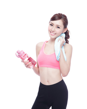 'fit body': Sport girl with water isolated on white background. Running fitness sport woman jogging smiling happy. asian beauty