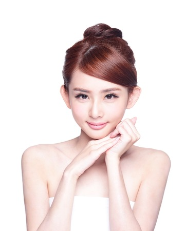 skin care woman: Beautiful Skin care woman Face smile to you isolated on white background. asian Beauty Stock Photo
