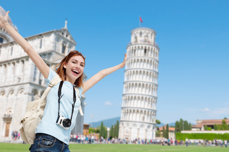 Happy woman travel in Italy, Leaning Tower of Pisa Stock Photo