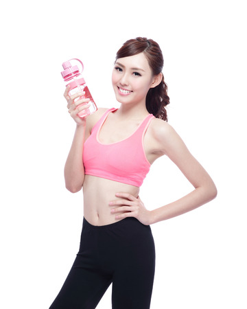 water sport: Sport girl with water isolated on white background. Running fitness sport woman jogging smiling happy. asian beauty