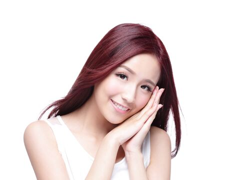 long: Beauty woman with charming smile to you with health skin, teeth and hair isolated on white background, asian beauty