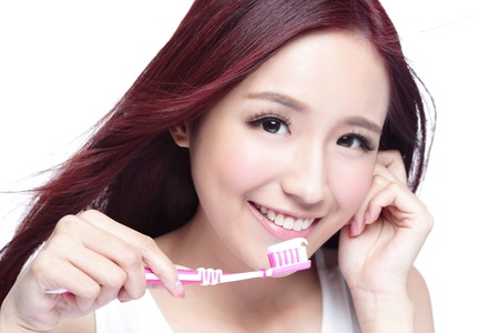 teeth smile: Close up of Smile woman brush teeth. great for health dental care concept, Isolated over white background. asian