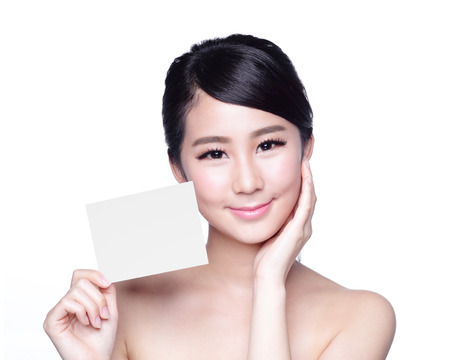 beauty skin: Beauty Skin care woman showing white billboard (empty Copy space), with clean face skin, concept for skin care, asian