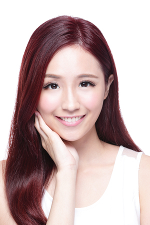 smile face: Beauty woman with charming smile to you with health skin, teeth and hair isolated on white background, asian beauty