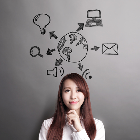 thinker: IOT concept - business woman and look globe and wifi icon isolated on grey background