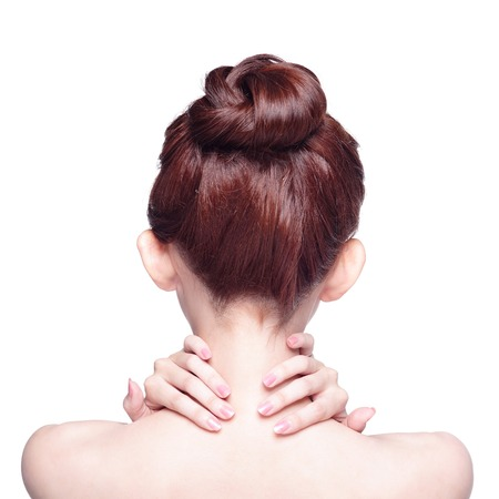 head and  back: beautiful woman back view, isolated on white background Stock Photo