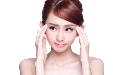 woman eye: Beautiful Woman pointing her eye with unhappy face