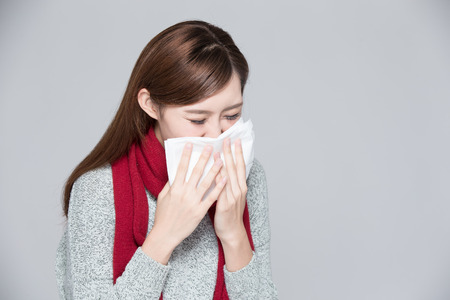 asian medical: A Woman catches a cold, illness, asian