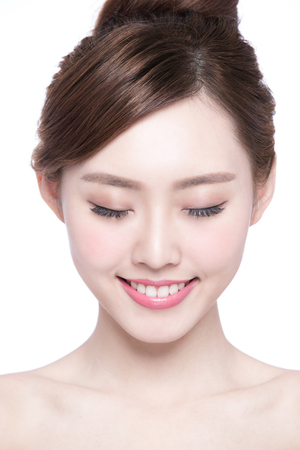 dental: Beautiful Skin care woman enjoy and relax isolated on white background. asian Beauty