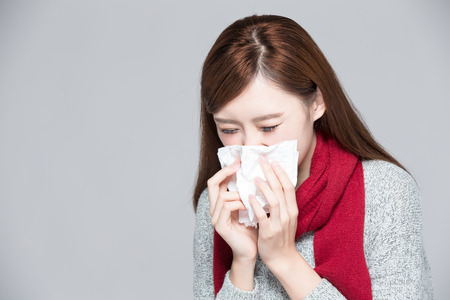 illness: A Woman catches a cold, illness, asian