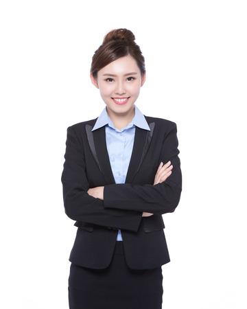 secretaria: mujer de negocios aislados en fondo blanco, belleza asiática