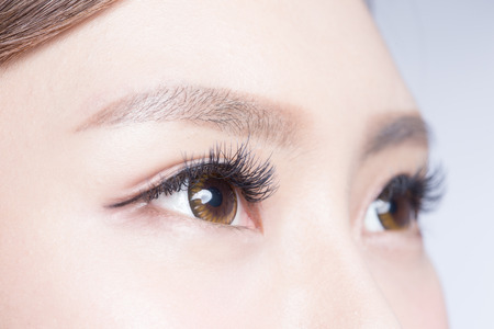 female eyes: Beautiful woman eye with long eyelashes. asian model Stock Photo