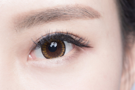 close eye: Beautiful woman eye with long eyelashes. asian model Stock Photo
