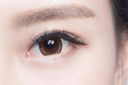 eyelashes: Beautiful woman eye with long eyelashes. asian model Stock Photo